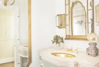 Modular Gold Bathroom Mirror Framed : Elegant Gold Mirror Bathroom Decor within Gold Bathroom Mirror