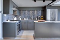 Modular Grey Kitchen Cabinets With White Countertops Breakfast Bar And White inside Grey And White Kitchen Cabinets