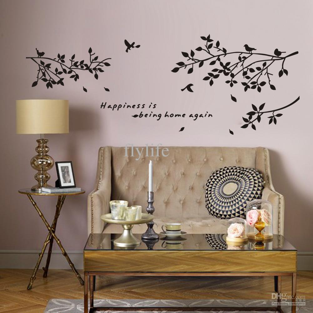 Modular Happiness Is Being Home Again Vinyl Quotes Wall Stickers And Black within Unique Tree Wall Decals For Living Room