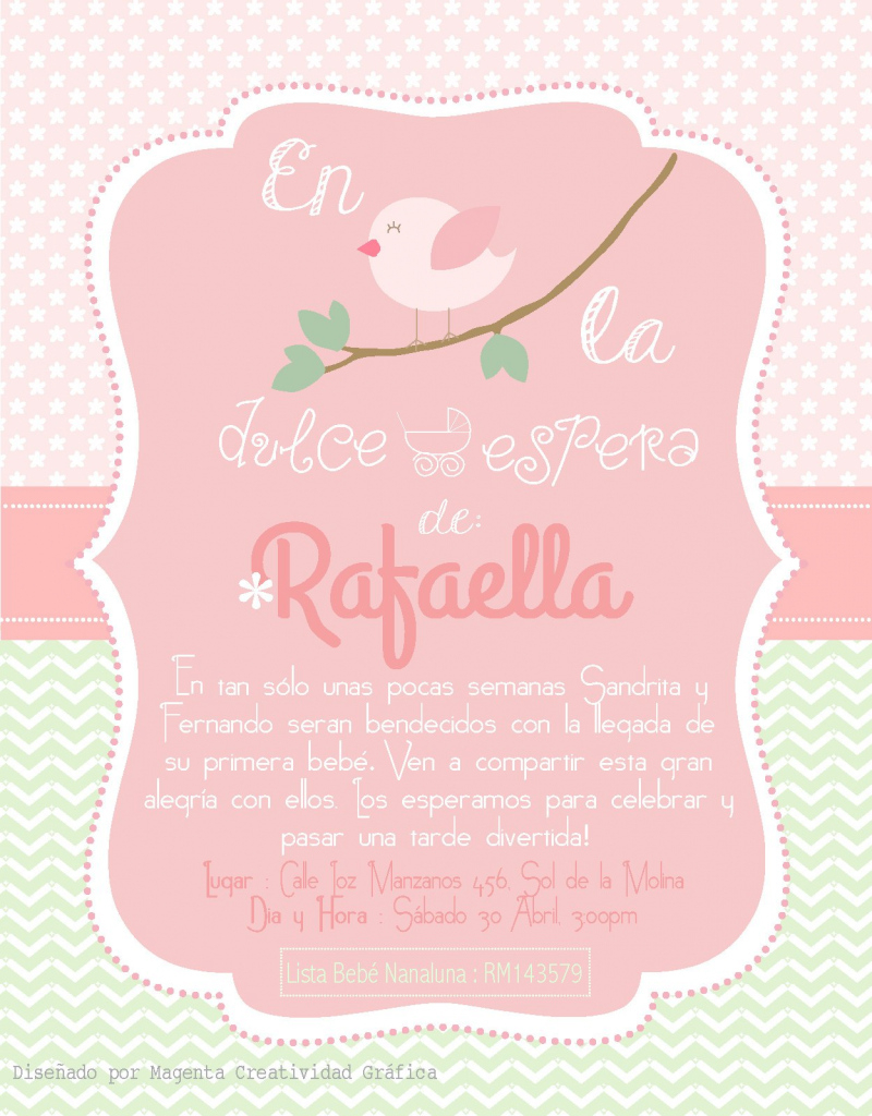 Modular Invitación Baby Shower Bebé Rafaella. Temática : Pajaritos. Verde Y pertaining to Invitaciones Baby Shower