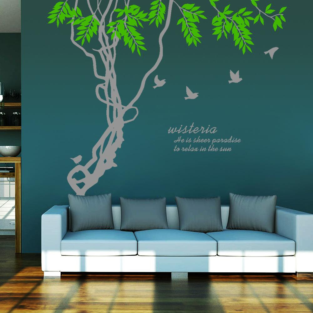 Modular Ivy Leaves & Tree Branches Birds Wall Art Mural Decor Sticker with Unique Tree Wall Decals For Living Room