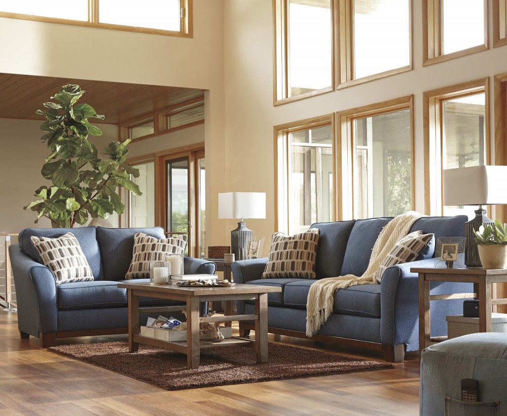 Modular Janley - Denim - Sofa & Loveseat | 43807/38/35 | Living Room Groups within Unique Living Room Dayton