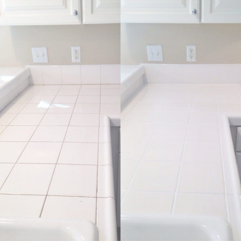 Modular Kitchen Counter Grout Cleaning And Sealing - Northwest Grout Works throughout How To Clean Kitchen Tile Grout
