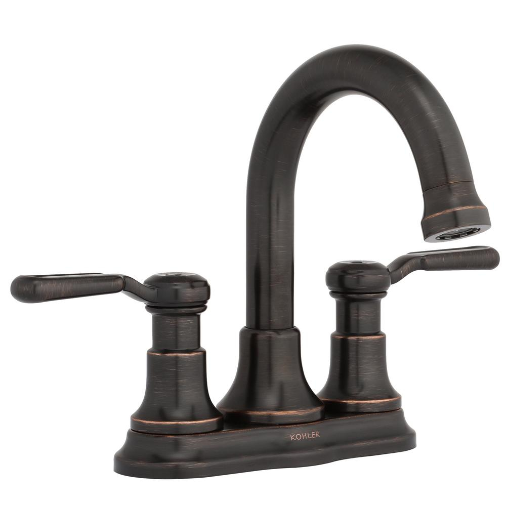 Modular Kohler Worth 4 In. Centerset 2-Handle Bathroom Faucet In Oil Rubbed in Oil Rubbed Bronze Bathroom Sink Faucet