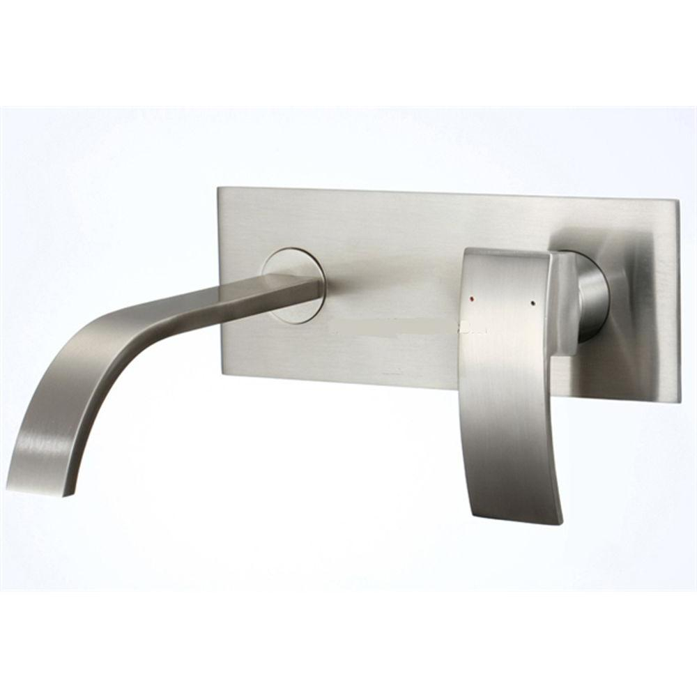Modular Kokols 1-Handle Wall Mount Bathroom Faucet In Brushed Nickel-86H08Bn with Wall Mounted Bathroom Faucets Brushed Nickel