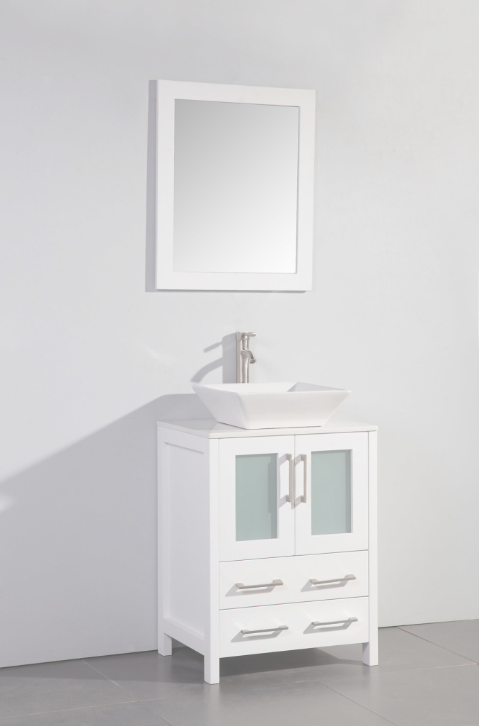 Modular Legion 24 Inch Modern Vessel Sink Bathroom Vanity White Finish throughout Small White Bathroom Vanity