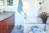 Modular Light Blue Bathroom Decorating Ideas Laminate In Black Tile Floor within Light Blue Bathroom Accessories