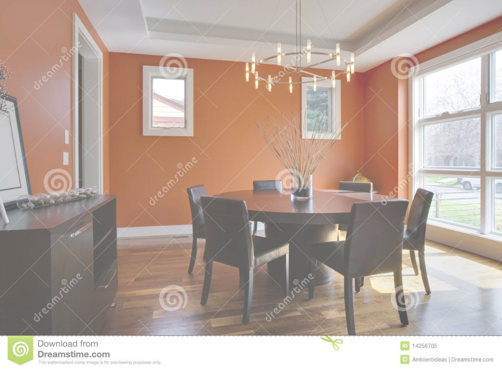 Modular Luxury Dining Room With Orange Walls Stock Image - Image Of Chair pertaining to Awesome Orange Dining Room