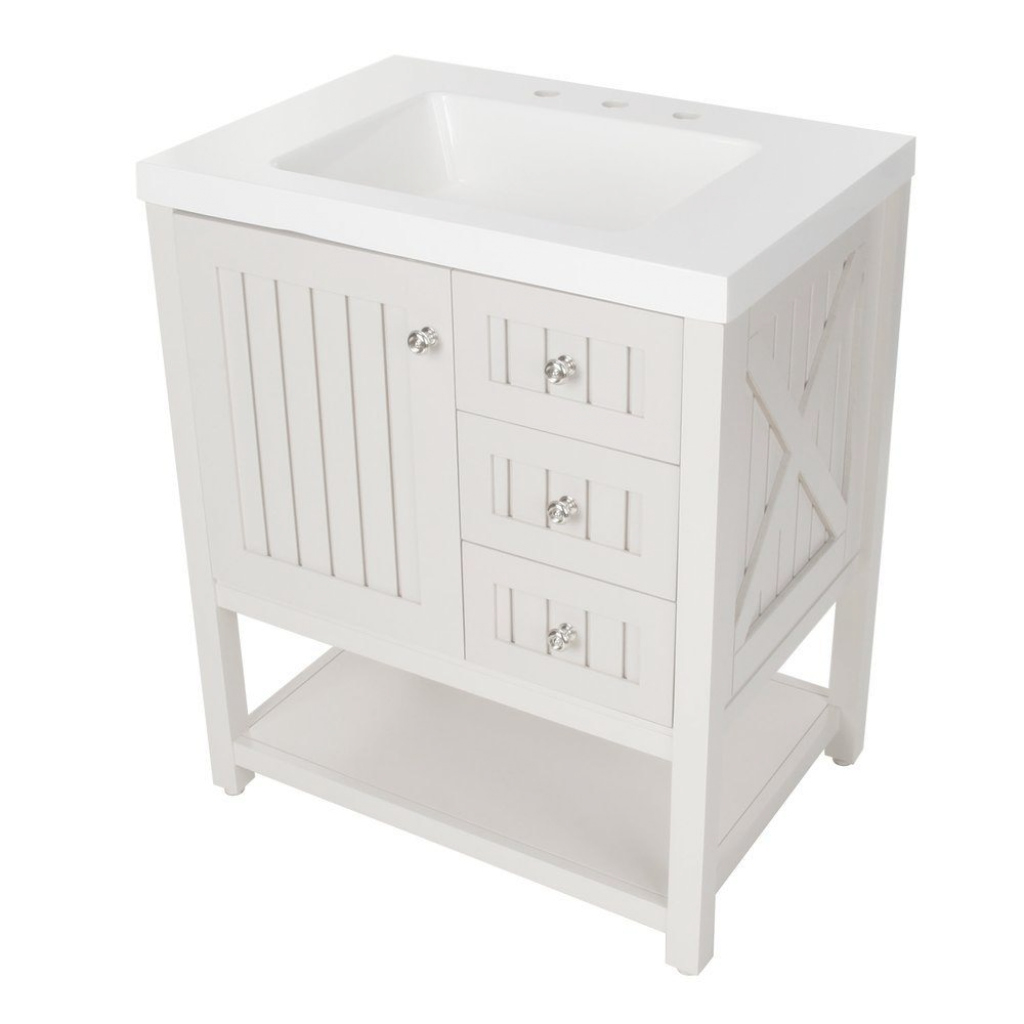 Modular Martha Stewart Living Seal Harbor 30-1/4 In. W Bath Vanity In intended for Elegant White Bathroom Vanity Home Depot