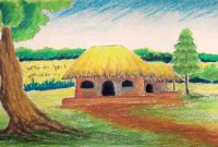 Modular Pastel Tutorial | How To Draw A Village Landscape With Oil Pastels regarding Set Landscape Drawing For Class 8