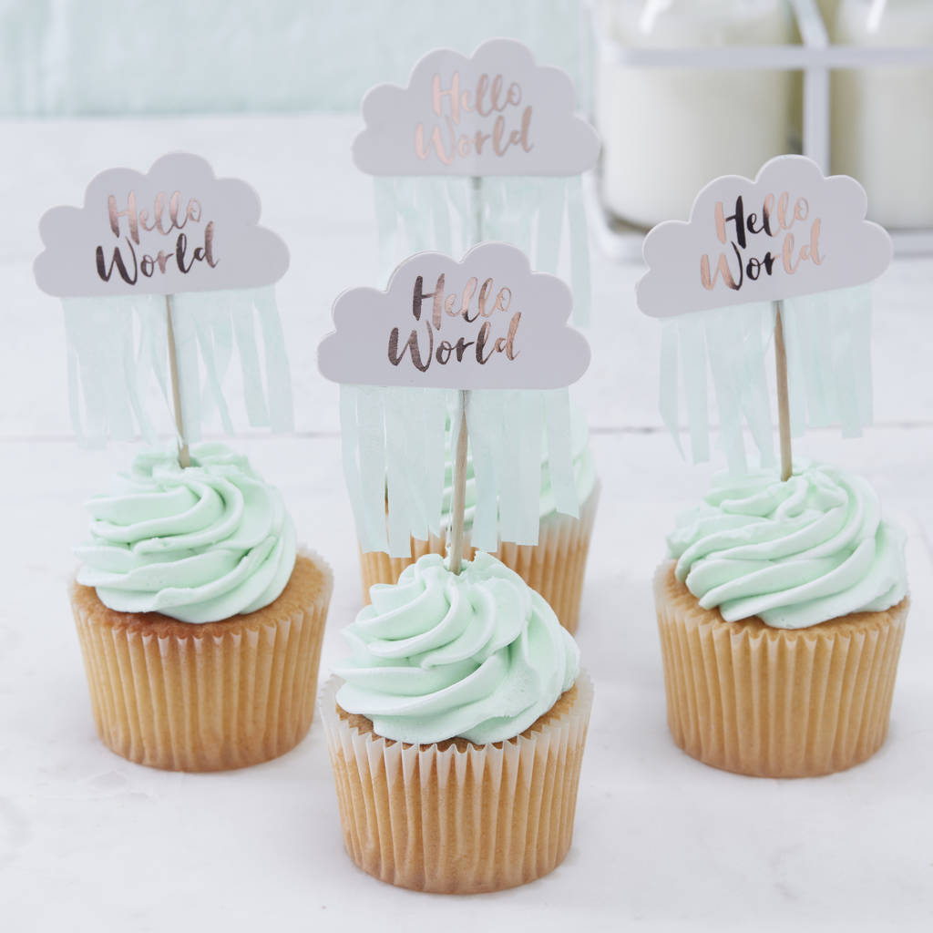 Modular Rose Gold Cloud Shaped Baby Shower Cupcake Toppersginger Ray with Elegant Baby Shower Cupcakes