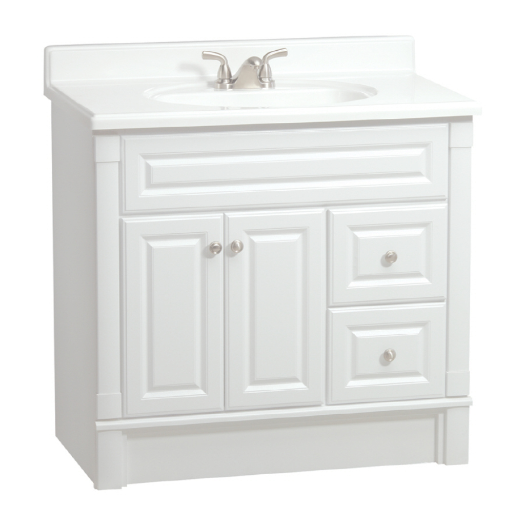 Modular Shop Estatersi Southport White 36-In Casual Bathroom Vanity At regarding Lowes Bathroom Vanities