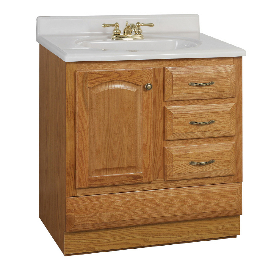 "Modular Shop Project Source 30"" Oak Elegance Bottom Drawer Traditional Bath with regard to Traditional Bathroom Vanity"