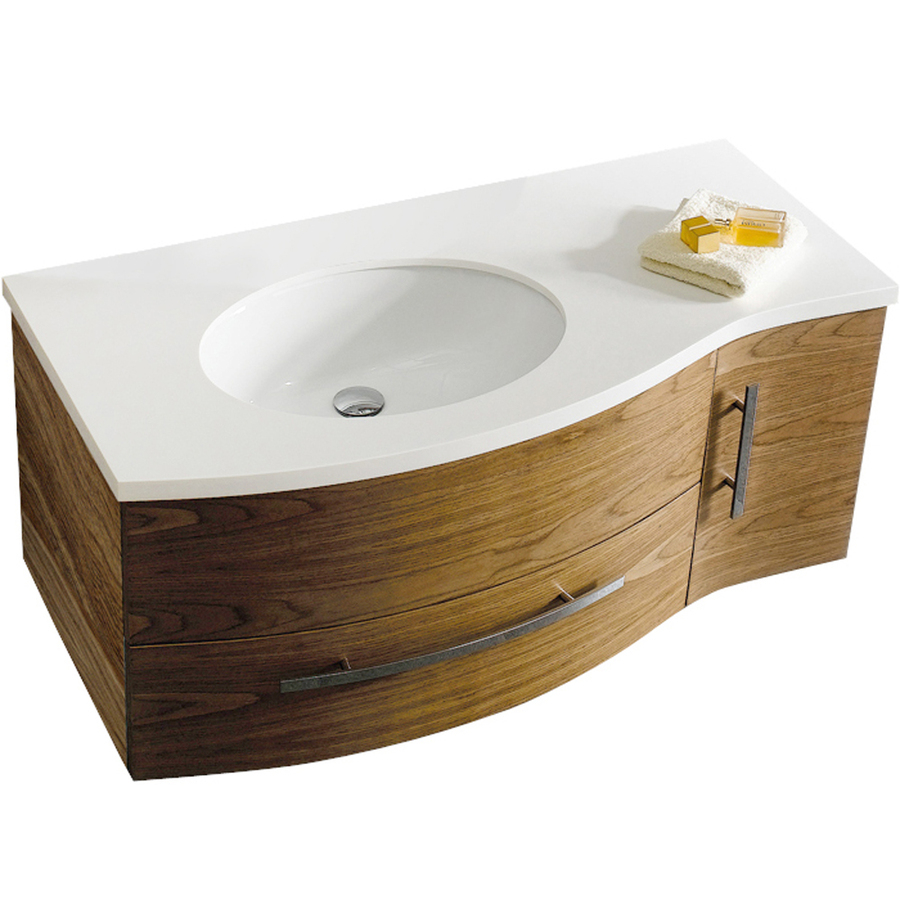 Modular Shop Vigo Walnut Integrated Single Sink Bathroom Vanity With pertaining to 44 Bathroom Vanity