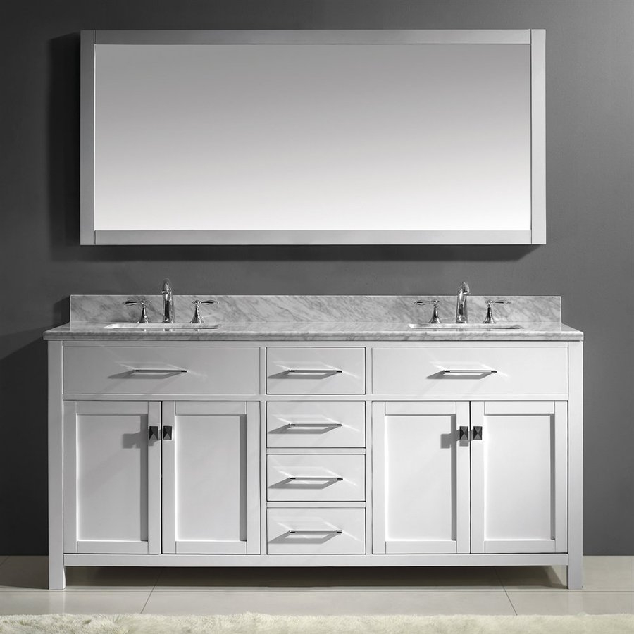 Modular Shop Virtu Usa Caroline White Double Sink Vanity With Carrara White intended for Bathroom Vanities Double Sink 72