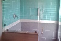 Modular Subway Tiles For Kitchen Backsplash And Bathroom Tile In Bathroom within Blue Glass Tile Bathroom