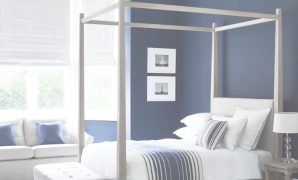 Modular Wardley Four-Poster Bed In Oak. Simple And Elegant #shakerstyle intended for New Navy Blue And White Room