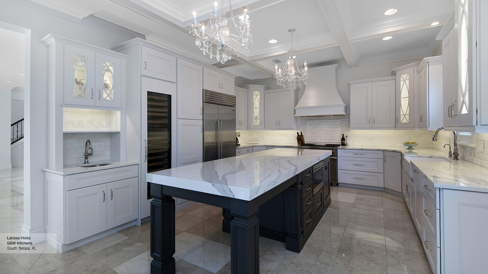 Modular White Kitchen Cabinets With A Dark Grey Island - Omega in Fresh Grey And White Kitchen Cabinets
