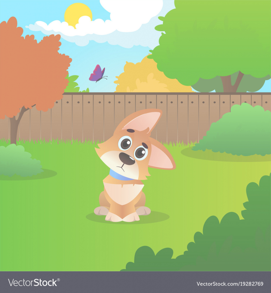 Modular Wondering Cartoon Corgi Sitting On Backyard Sunny Vector Image inside Backyard Cartoon