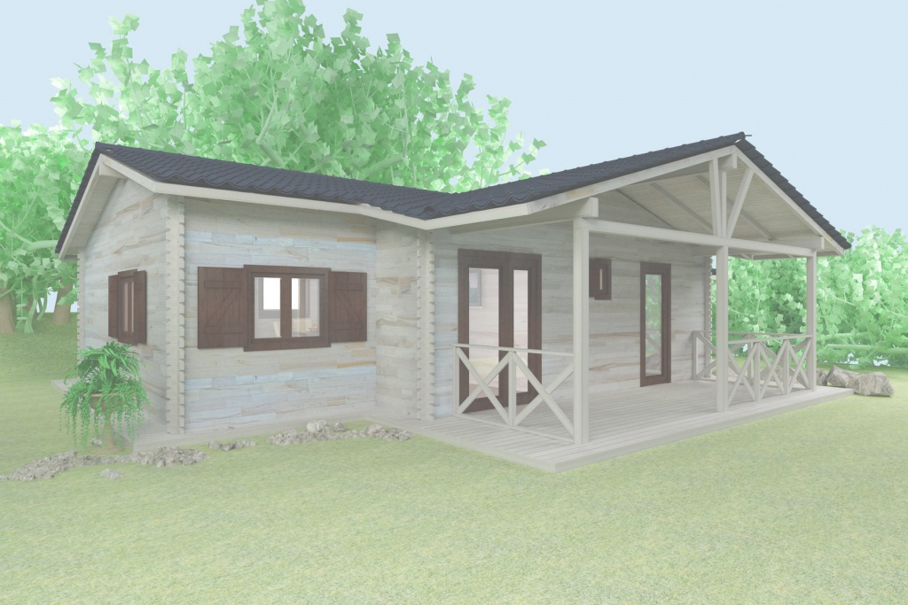 Modular Wooden House 3D Elevation. Cabin House Plans And Design. Interior with Wood House Design Plans