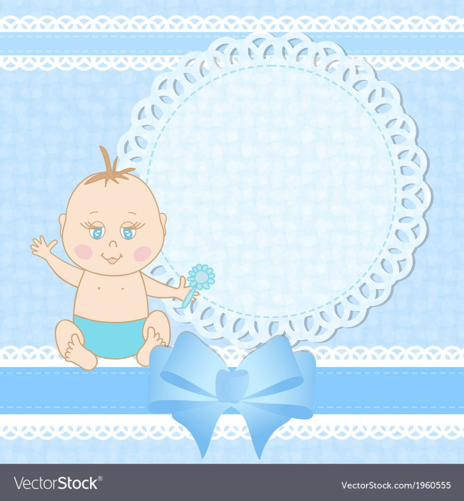 Amazing Baby Shower Greeting Card For Baby Boy Royalty Free Vector for Greetings For Baby Shower