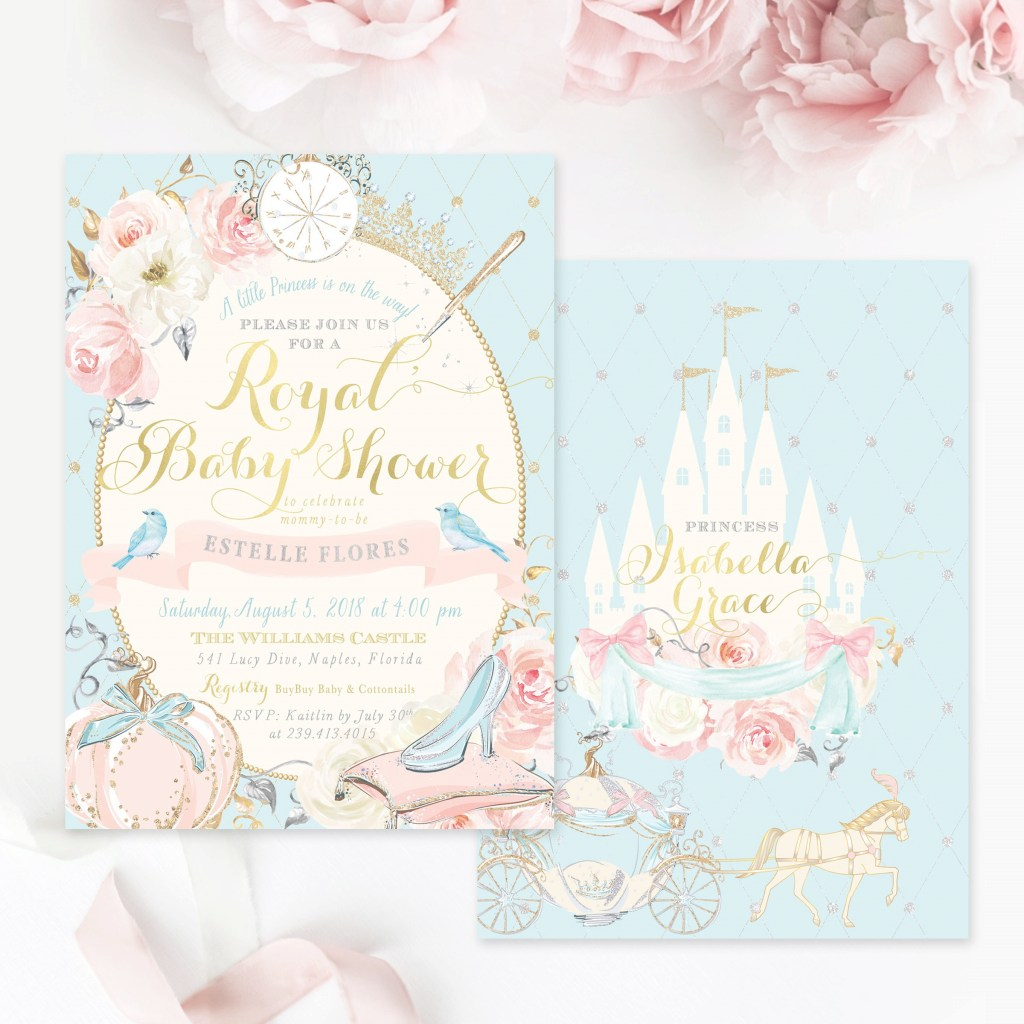 Amazing Cinderella Baby Shower Invitation Princess Baby Shower | Etsy pertaining to Cinderella Baby Shower