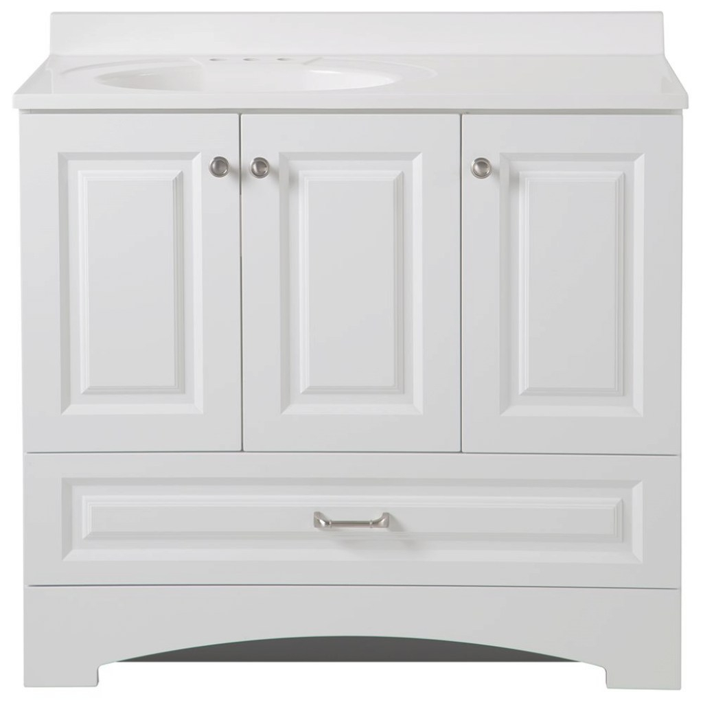Beautiful Glacier Bay Lancaster 36 In. W Side Drawer Vanity In White With in Awesome Home Depot Bathroom Vanities 36 Inch