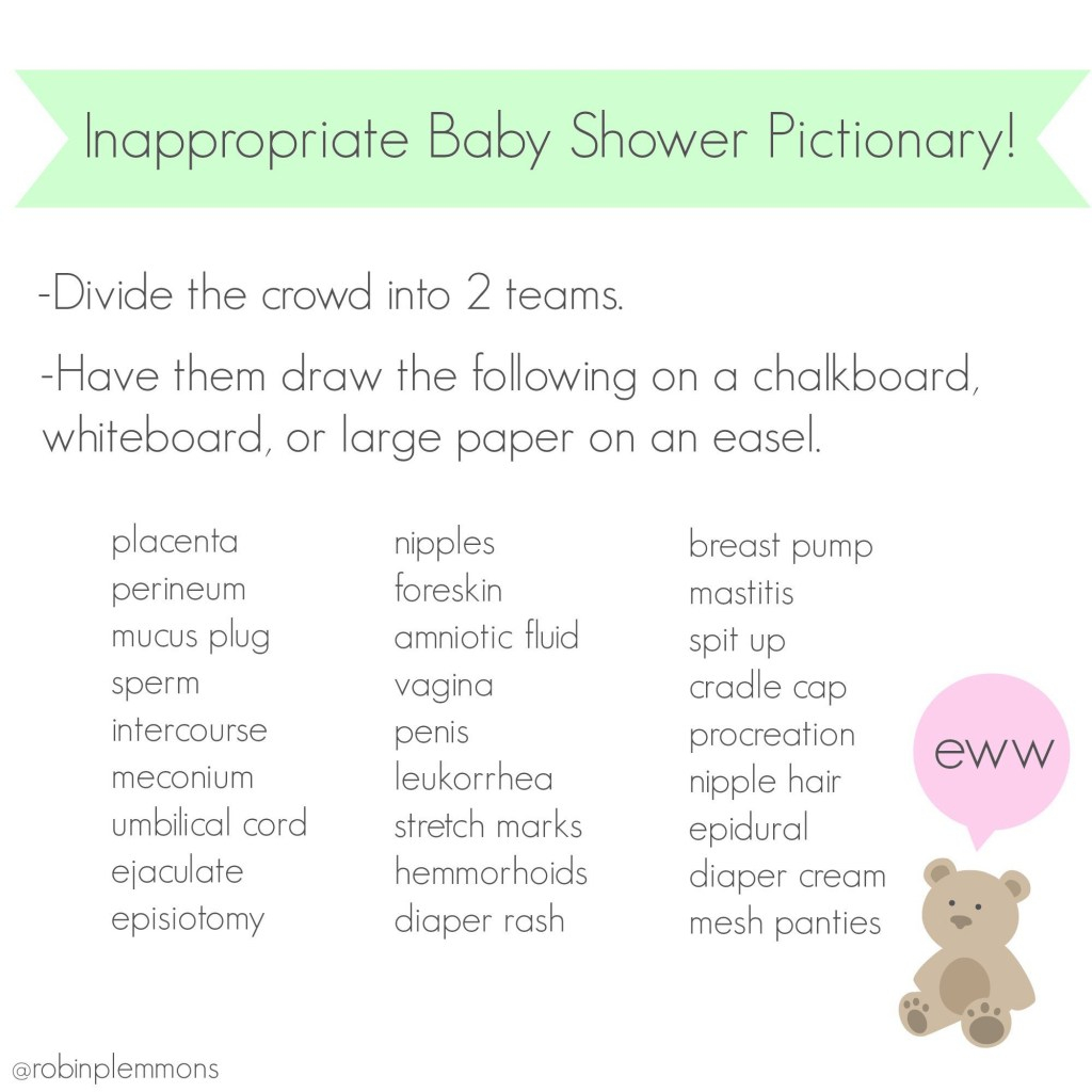 Beautiful Inappropriate Baby Shower Pictionary! Because All Those Other Baby with regard to Review Baby Shower Pictionary