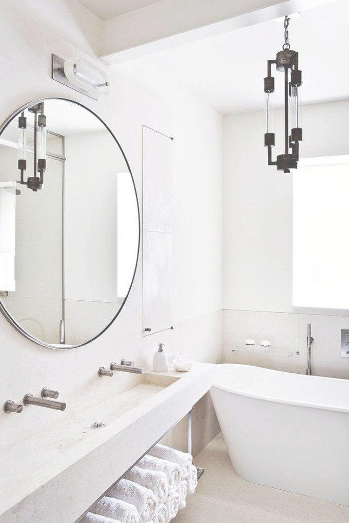 Beautiful Interiors | Wash | New York Loft, Scandinavian Bathroom, Bathroom within Beautiful Circular Bathroom Mirror