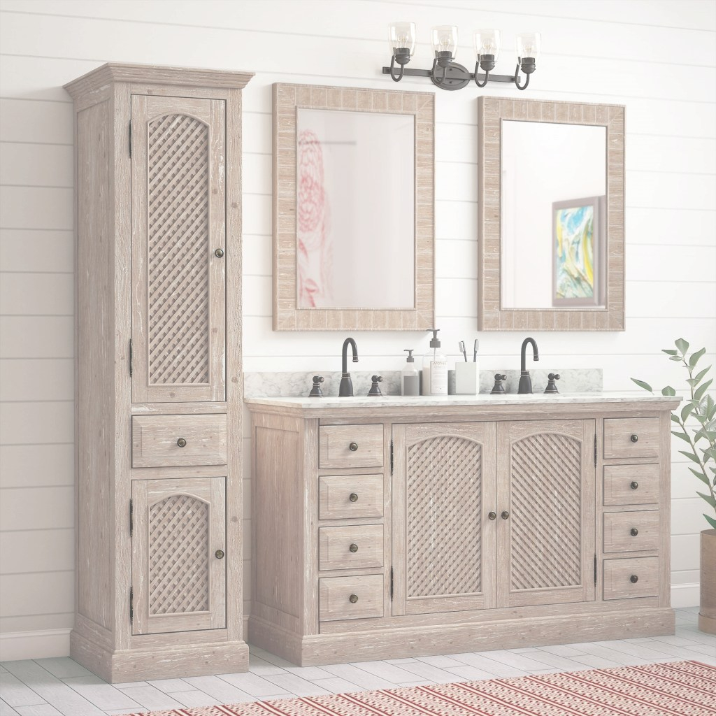 "Beautiful Laurel Foundry Modern Farmhouse Clemmie 61"" Double Bathroom Vanity for New Bathroom Vanity With Linen Cabinet"