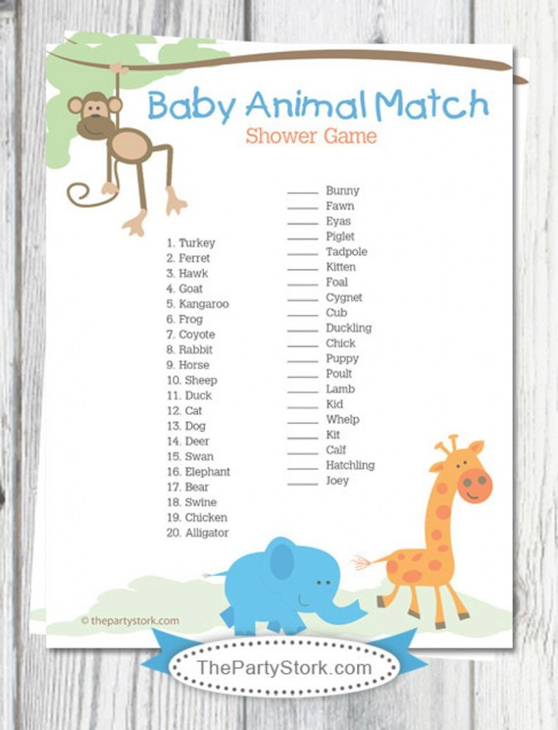 Beautiful Safari Baby Shower Games Printable Baby Animal Match Game | Etsy throughout Set Baby Shower Games Printable