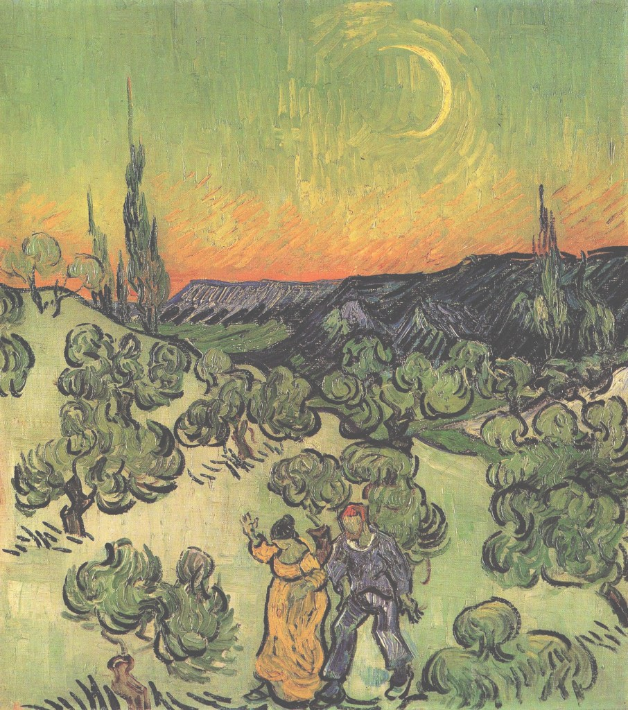 Beautiful Vincent Van Gogh - Landscape With Couple Walking And Crescent Moon with Van Gogh Landscape Drawingslandscape Synonym