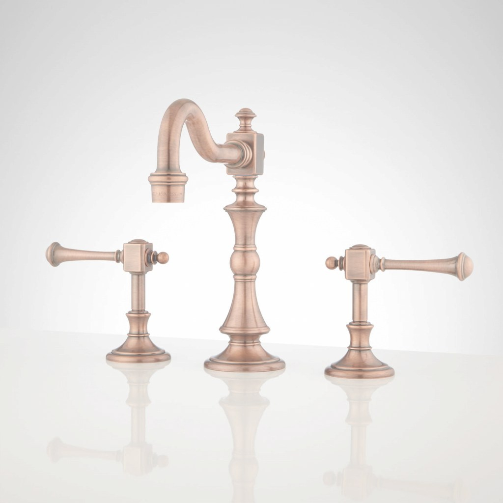 Beautiful Vintage Widespread Bathroom Faucet - Lever Handles - Bathroom in Set Copper Bathroom Faucet