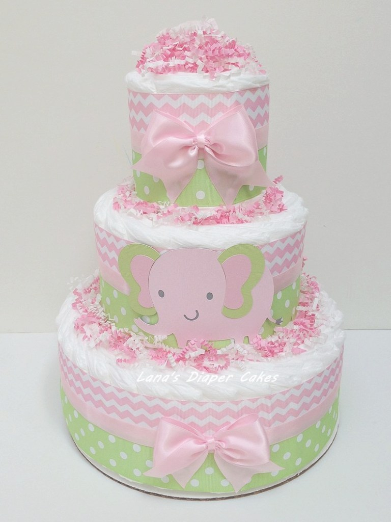 Cool 3 Tier Pink & Green Elephant Diaper Cake Girl Baby Shower | Etsy intended for Best of Pink And Green Baby Shower
