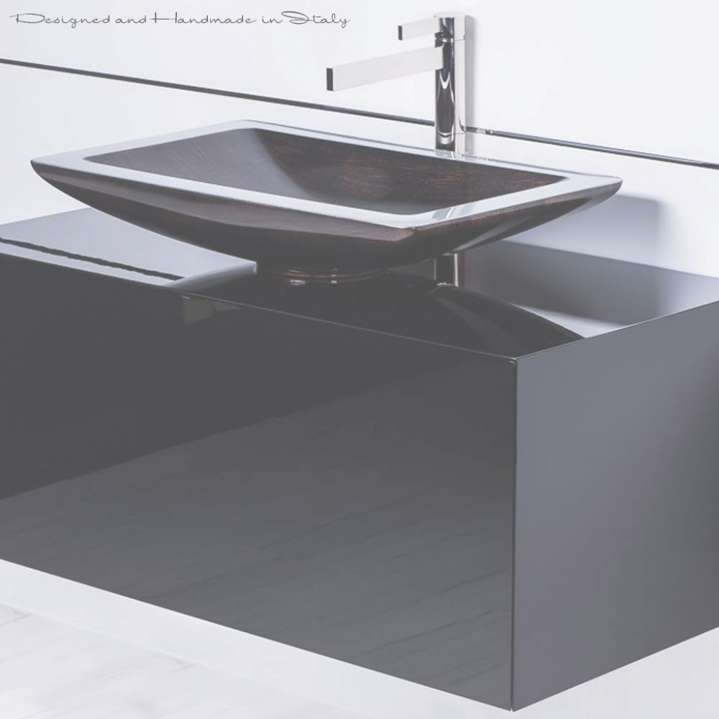 Cool 40 Inch Black Bathroom Vanity With Rectangular Vessel Sink And Faucet inside Awesome Black Bathroom Sink