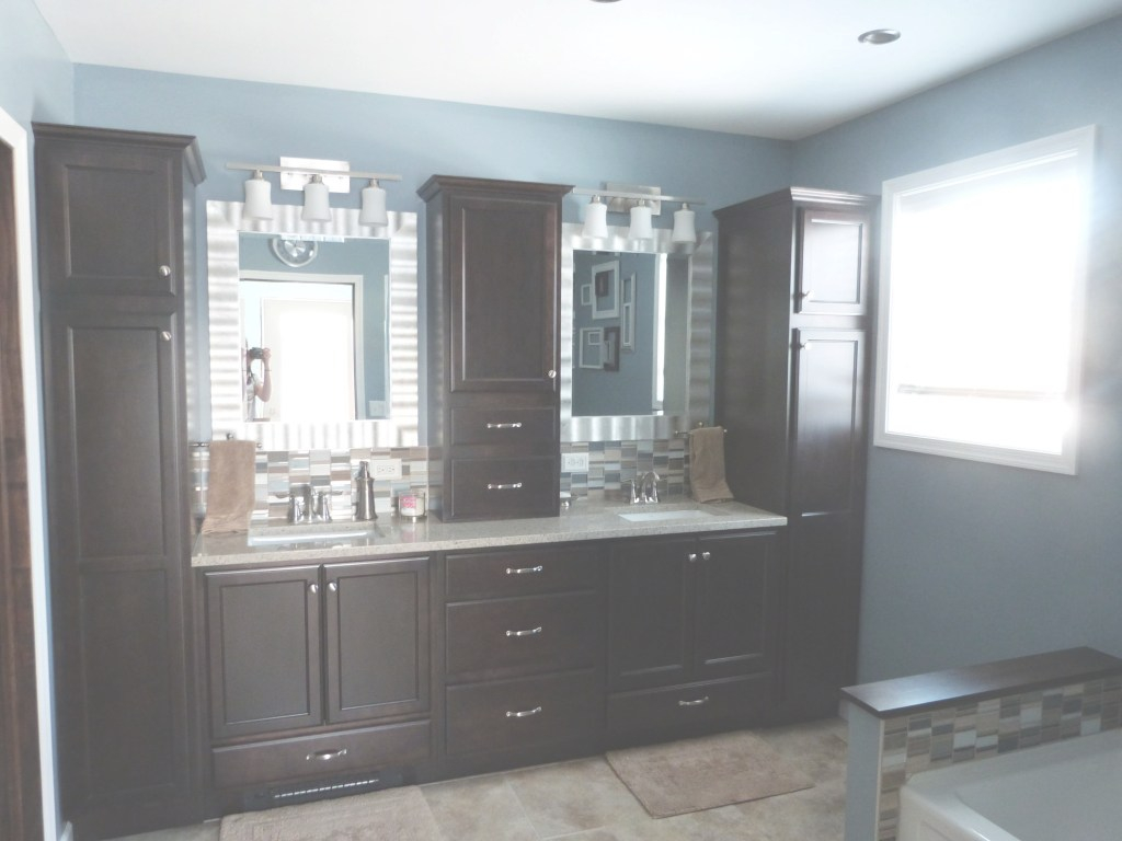Cool Master Bathroom - Bathroom Decor - Dark Cabinets - Blue Bathroom within Blue Bathroom Storage Cabinet