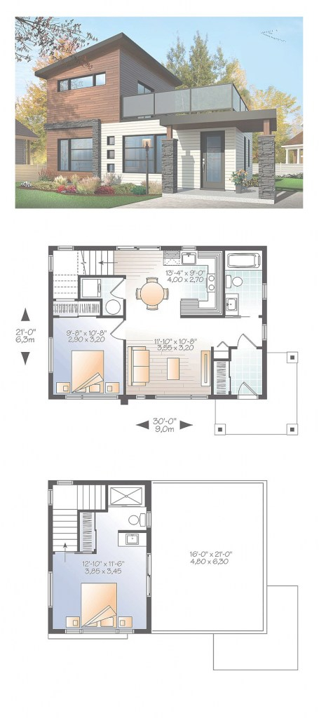 Cool Modern House Plan 76461 | Total Living Area: 924 Sq. Ft., 2 Bedrooms for Sims 4 House Layout