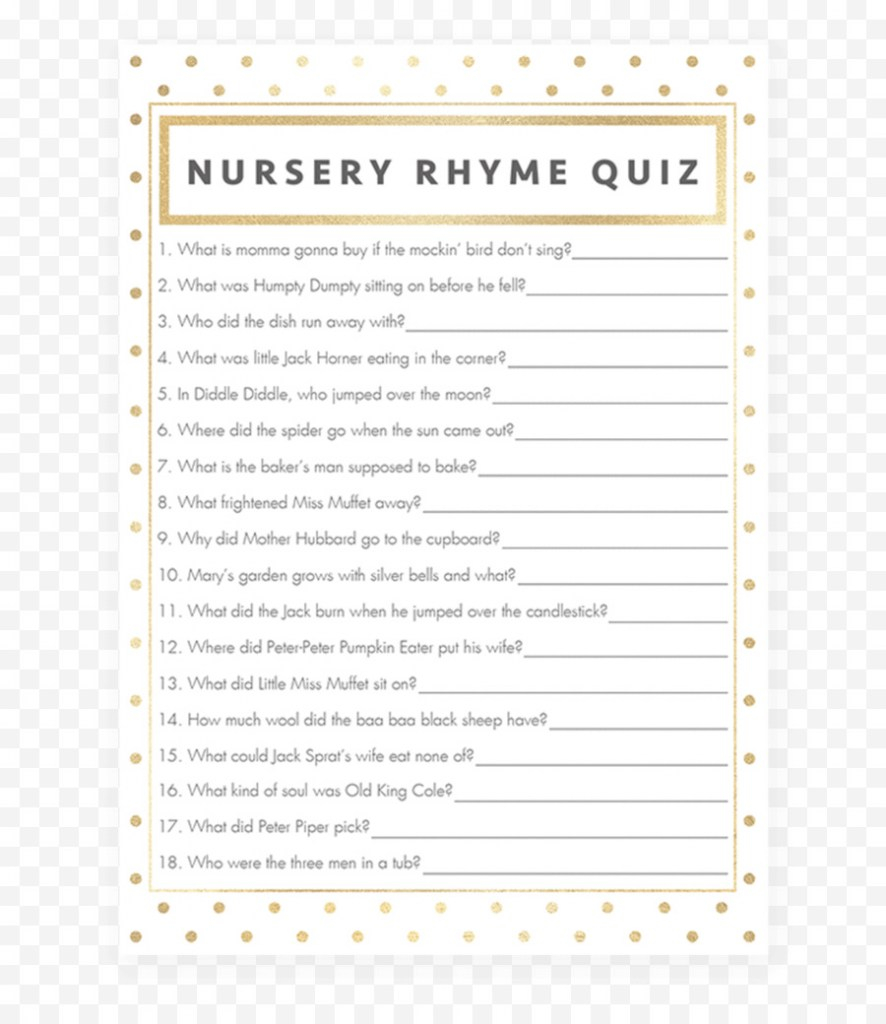 Cool Nursery Rhyme Game Baby Shower Play - Gold Shower Png Download - 819 within Fresh Baby Shower Nursery Rhyme Game