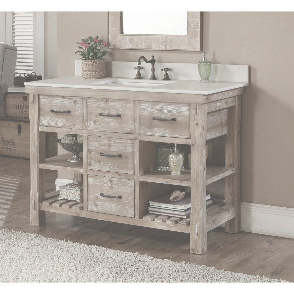 Cool Rustic Style Carrara White Marble Top 48-Inch Bathroom Vanity intended for Fresh Rustic Bathroom Vanities For Sale