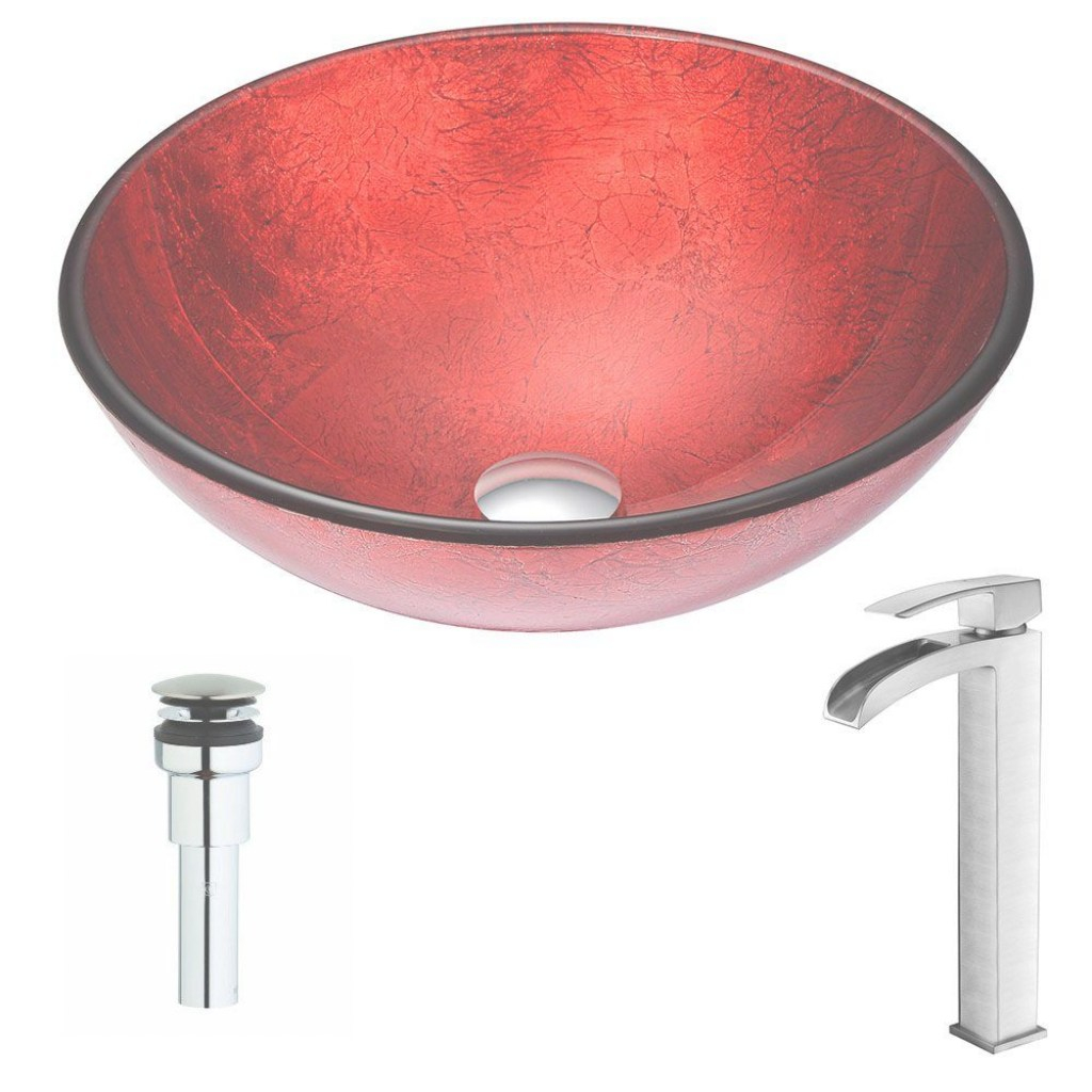 Elite Anzzi Crown Series Deco-Glass Vessel Sink In Lustrous Red With Key within Red Bathroom Sink