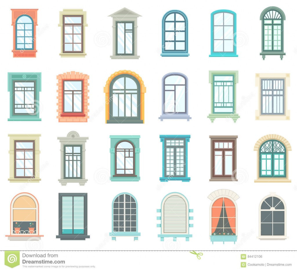 Elite Set Of Plastic And Wooden Window Frames Stock Vector - Illustration intended for Wood Window Frame Design