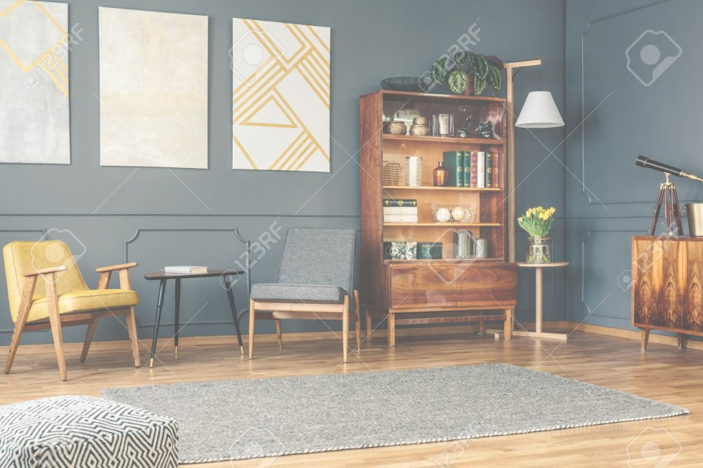 Epic Bright Living Room Interior With Retro Bookcase, Chest Of Drawers pertaining to Living Room Chest