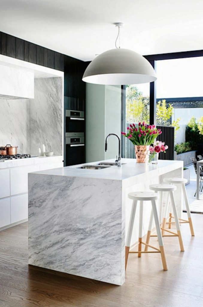 Epic Waterfall Kitchen Island Inspiration within Waterfall Island Kitchen