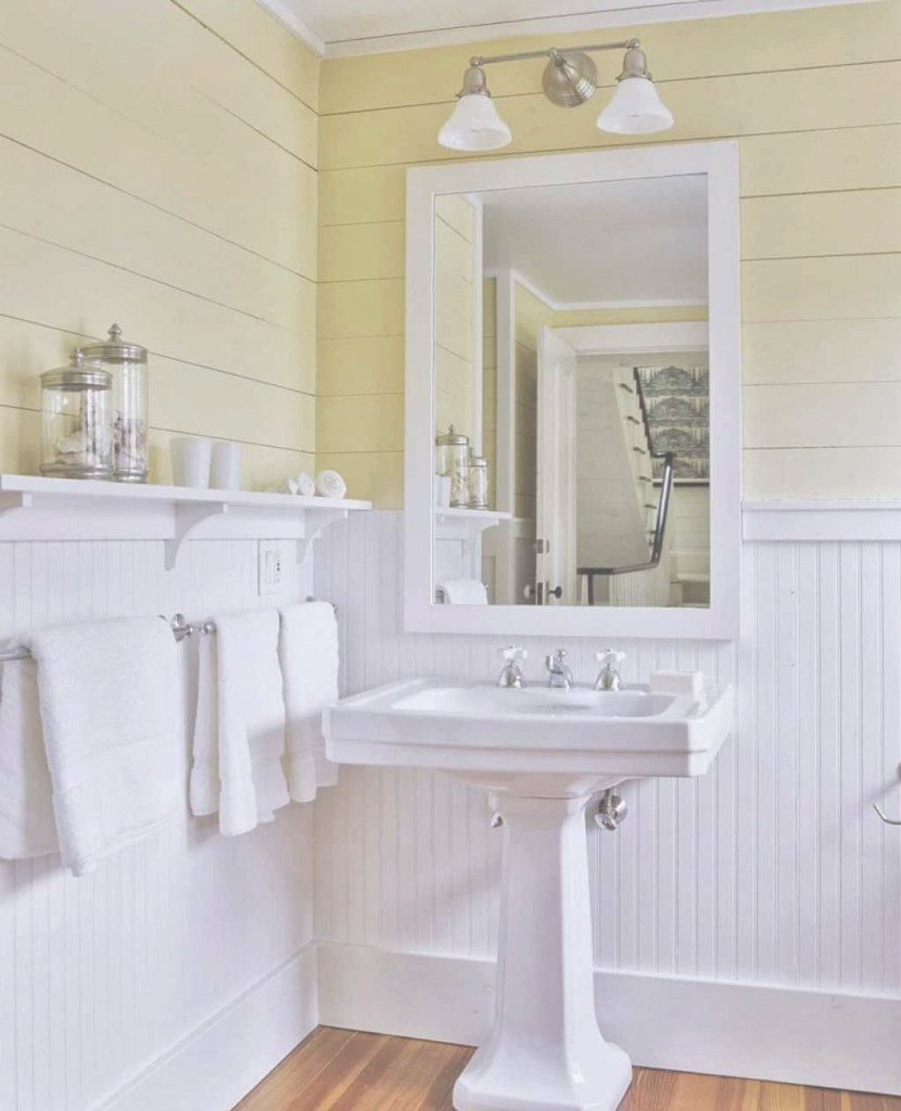 Fancy Beadboard Bathroom Wainscoting | For The Home | Pinterest | Yellow pertaining to Awesome Bathroom With Beadboard
