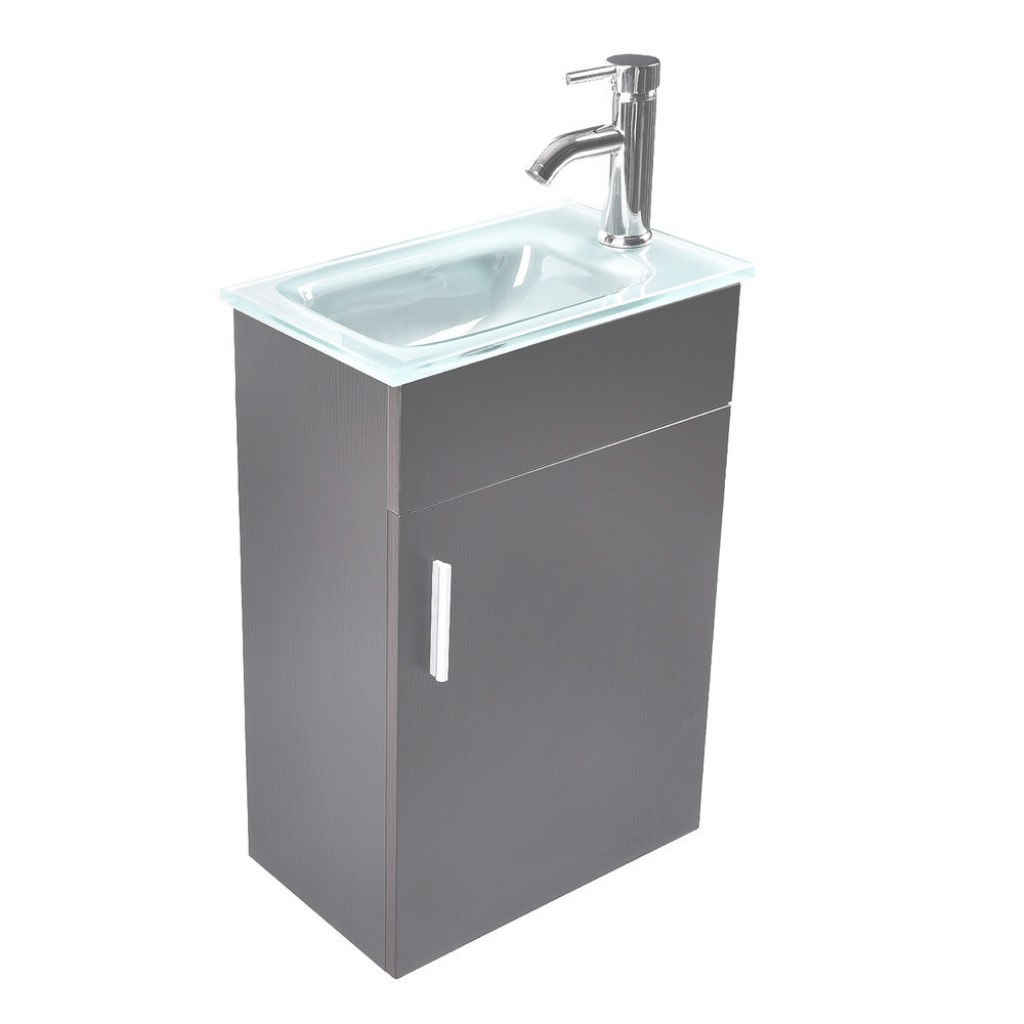 Glamorous 16'' Small Bathroom Vanity Floating Wall Mounted Glass Sink Faucet inside Small Bathroom Vanity Sink Combo