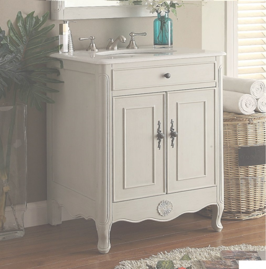 Glamorous 26 Inch Bathroom Vanity Cottage Beach Style Vintage Grey Color (26 for 26 Inch Bathroom Vanity
