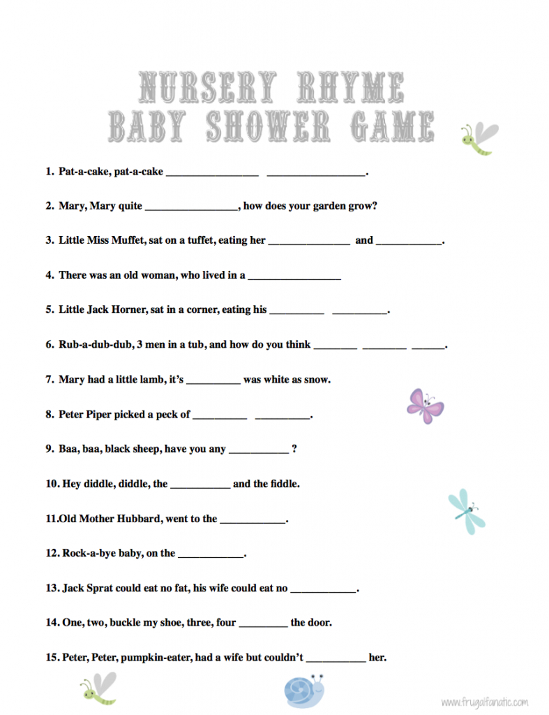 Glamorous Baby Shower Games: Nursery Rhyme | Burt's Baby Shower | Baby Shower throughout Fresh Baby Shower Nursery Rhyme Game
