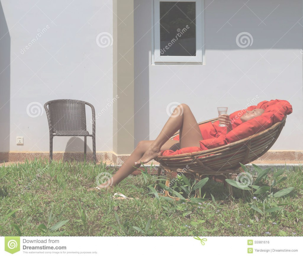 Glamorous Large Backyard With A Lawn And Chairs Stock Photo - Image Of Chairs within Backyard Sunbathing