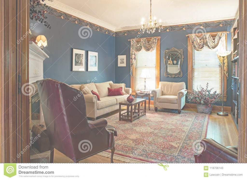 Glamorous Victorian Living Room With Blue Walls Editorial Stock Photo - Image for New The Living Room Dayton