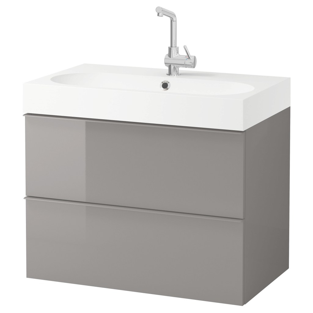 Inspirational Bråviken/godmorgon Wash-Stand With 2 Drawers High-Gloss Grey 80 X 48 inside Ikea Bathroom Vanity Units